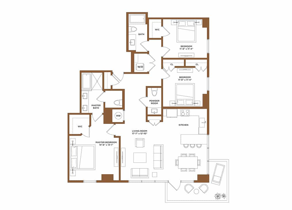 Apartment G-3 Bedrooms | 2.5 Bathrooms